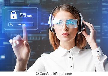 assicurazione, rete, lavorativo, donna d'affari, concept., occhiali, giovane, virtuale, affari, cyber, future., tecnologia internet, tecnologia, mostra, selezionare, icona