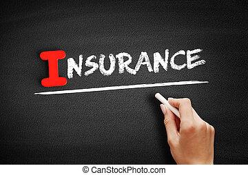 assicurazione, testo, lavagna