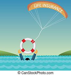 assicurazione, tubo, paracadute, uomo, annegamento, sostenuto