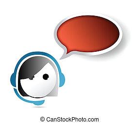 assistenza clienti, ci, representative., contatto, femmina