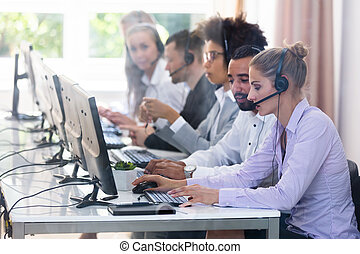 assistenza clienti, lavorativo, centro, chiamata, funzionari
