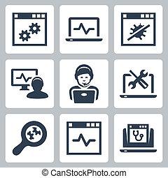 assistenza telefonica, set, vettore, icone computer
