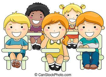 assistere, bambini, classe
