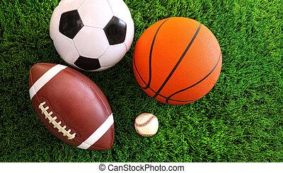 assortimento, erba, sport, palle