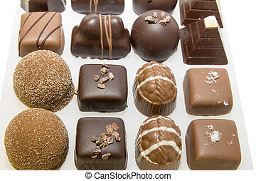 assortimento, vassoio, cioccolato