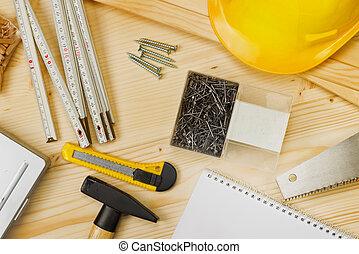 assortito, carpenteria, costruzione, attrezzi, o, carpenteria