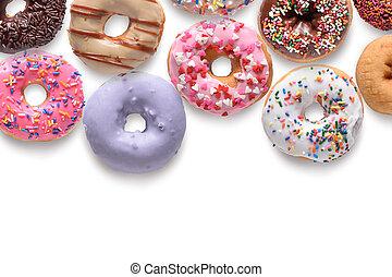assortito, isolato, sfondo bianco, donuts