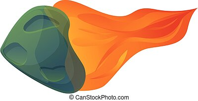 asteroide, fuoco, stile, cartone animato, icona