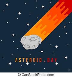 asteroide, volare, illustrazione, vettore