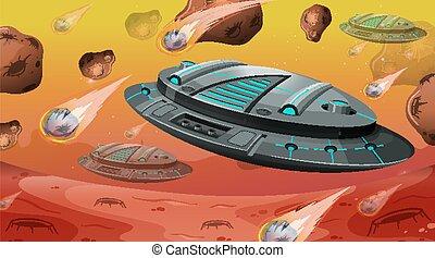 asteroidi, spazio, astronave, scena