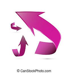 astratto, 3d, icona freccia