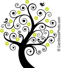 astratto, albero, uccelli