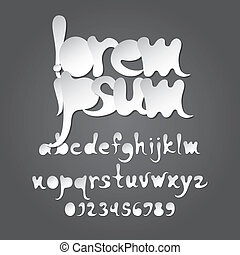 astratto, alfabeto, cifra, vettore, bianco