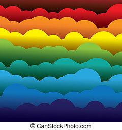 astratto, arancia, colori, carta, (backdrop), livelli, contiene, -, giallo, graphic., 3d, blu, colorito, formato, illustrazione, fondo, usando, rosso, nubi, come, questo, vettore, verde