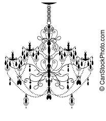 astratto, candeliere, ornare, disegno, vendemmia, elegante, elemento
