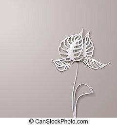 astratto, carta, fiori, 3d