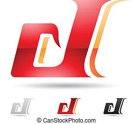 astratto, d, lettera, icona