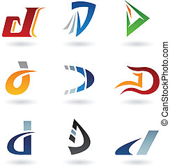 astratto, d, lettera, icone