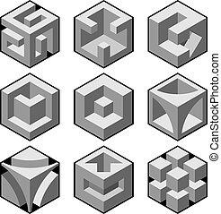 astratto, elementi, disegno, 3d, cubico