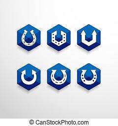 astratto, ferro cavallo, vettore, disegno, sagoma, logotipo