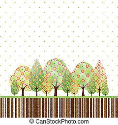 astratto, fiore, albero, primavera, colorito