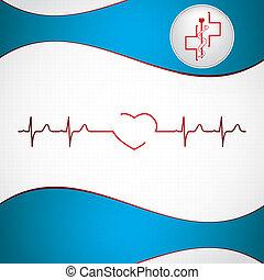 astratto, fondo, medico, ekg, cardiologia