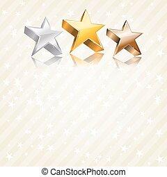 astratto, fondo., vettore, bronzo, stelle, argento, dorato