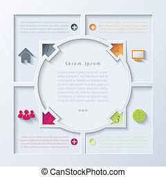 astratto, frecce, infographic, disegno, cerchio