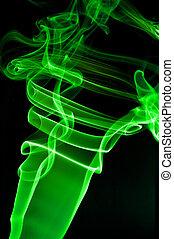 astratto, fumo nero, fondo, verde