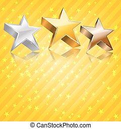 astratto, giallo, fondo., vettore, bronzo, stelle, argento, dorato