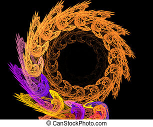astratto, illustrazione, elica, fondo, fractal, cornice