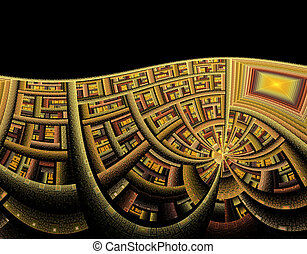 astratto, illustrazione, onda, tecnologia, fondo, fractal