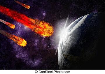 astratto, illustrazione, pianeta, fondo., asteroide, meteora, terra, impact., starfield