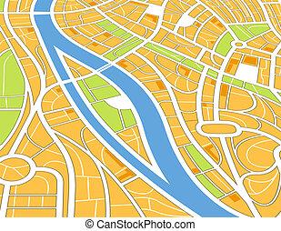 astratto, illustrazione, prospettiva, mappa urbana