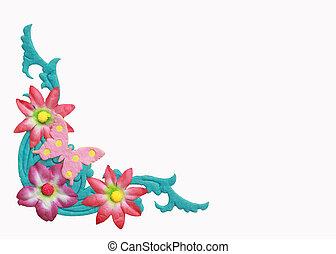 astratto, isolato, fondo, fiori bianchi, cornice
