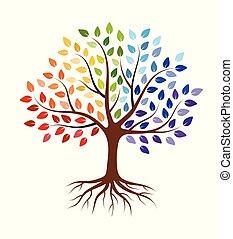 astratto, isolato, leaves., bianco, radici, albero, colorito, fondo.