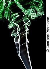 astratto, isolato, smoke., sfondo verde, nero