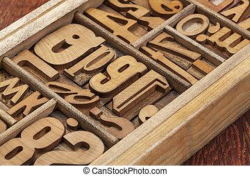 astratto, legno, tipo, letterpress