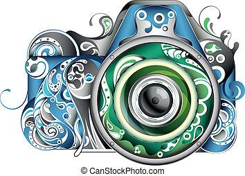 astratto, macchina fotografica