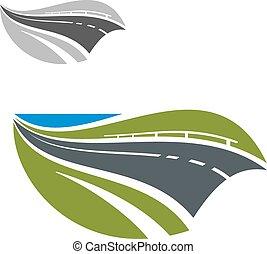astratto, moderno, autostrada, o, strada, icona