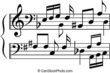 astratto, musica, combinazione, simboli, note, cartone animato