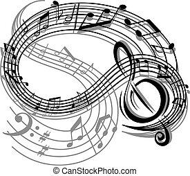 astratto, musica, retro, fondo