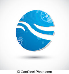 astratto, onda, acqua, vettore, icona, icona, simbolo, 3d