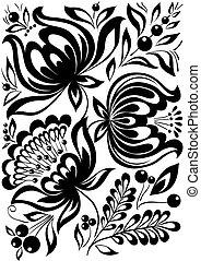 astratto, ornament., elemento, flowers., nero, retro, elegante, disegno, bianco