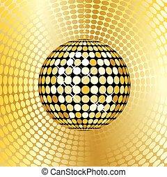 astratto, palla, oro, discoteca