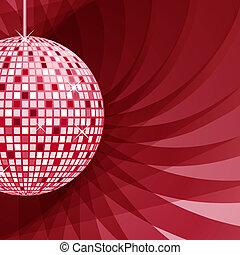 astratto, palla, sfondo rosso, discoteca