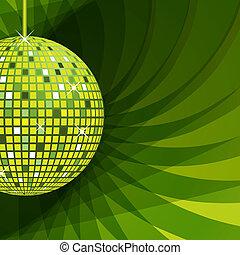 astratto, palla, sfondo verde, discoteca