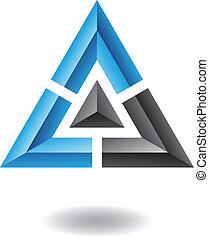 astratto, piramide, triangolo, icona