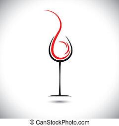 astratto, pouring(splash), illustrazione, vetro, vettore, vino