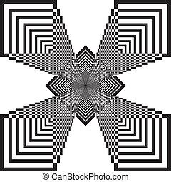 astratto, quadrato, che esplode, fondo, 3d